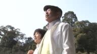 LA Senior couple taking a walk