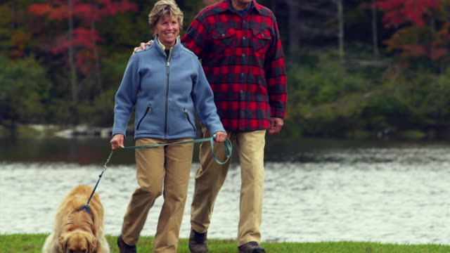 MS PAN CU Senior couple walking with Golden Retriever dog along lake, Manchester, Vermont, USA