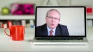 Senior lawyer remote consultation on laptop computer