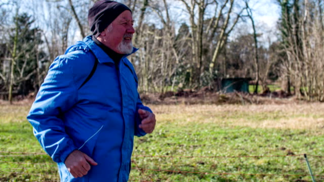 Senior Man running Outdoors