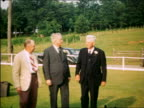 1940 PORTRAIT 3 senior men in suits posing for camera outdoors / Maplewood, NJ / home movie