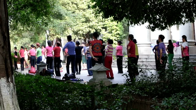 Senior people exercising outdoors in China