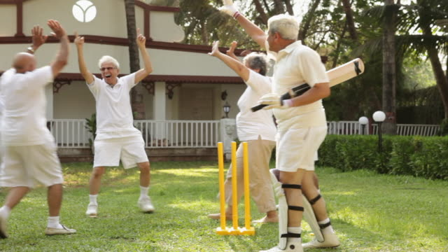 Senior people playing cricket in a lawn