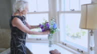MS Senior woman arranging flowers in vase / Portland, Oregon, USA