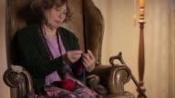 MS Senior woman knitting  / Berlin, Germany