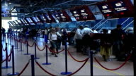 Airline security ENGLAND London Heathrow Airport GVs Near empty departure hall Checkin staff sitting idle at desks GVs Near empty departure hall LA...