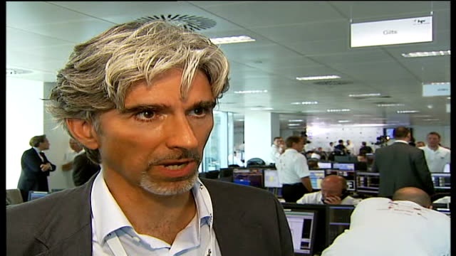 Five years on Celebrity city traders event Damon Hill interview SOT helping to raise money for a charity called Winston's Wish talks about charity /...
