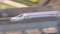 September 14 a Hokuriku Shinkansen running through the City of Namerikawa from the Toyama Station toward the KurobeUnazukionsen Station