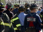 September 17 2001 MONTAGE Firefighters walking away / New York City New York United States