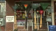 September 9 2010 ZO Merchandise displayed outside of hardware store / Arlington Virginia United States