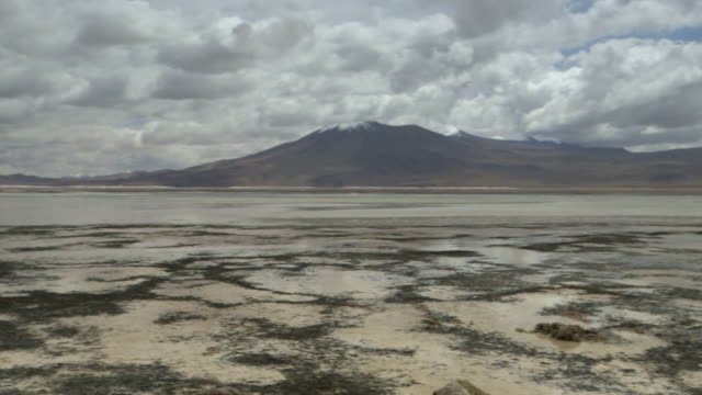 Sequence of panning shots showing the Andes rising from Bolivia's Altiplano (high plain) against an atmospheric sky.