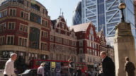 Sequence of static shots showing Bishopsgate and surrounding towering buildings of the City, London, UK.