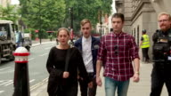 Sequence showing Charlie Alliston who has now been found guilty of causing bodily harm by 'wanton or furious driving' outside court London UK...