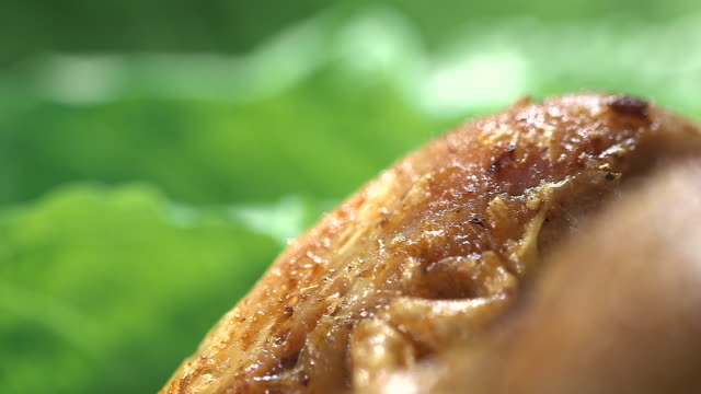 Sequence showing close-up focus pulls over lettuce and the surface of a roast chicken.
