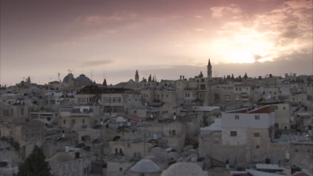 Sequence showing Jerusalem's Christian Quarter at sunset.