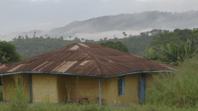 Sequence showing mist surrounding trees behind a yellow building in Sierra Leone.