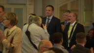 Sequence showing people including the MEP Mairead McGuinness listening intently to the Irish Prime Minister Leo Varadkar giving a speech close to the...