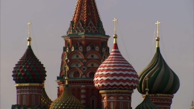 Sequence showing Saint Basil's Cathedral and the Kremlin at Moscow's Red Square. Available in HD.