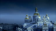 Sequence showing the beautiful exterior of St Michael's Golden Domed Monastery in the city of Kiev.