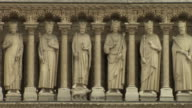 Sequence showing the Gallery of Kings and twelve apostles on the facade of Notre Dame de Paris, France.