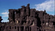Sequence showing unusual rock formations on the top of a Tepui mountain formed by the erosion of underground cave structures, Venezuela.