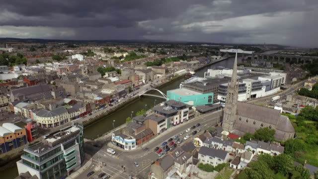 Sequence showing views of Drogheda's skyline, County Louth, Republic of Ireland.