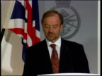 Kosovo US Prisoners NATO Attacks MOD ENGLAND London Ministry of Defence Robin Cook MP press conference SOT Milosevic knows he can not win by military...
