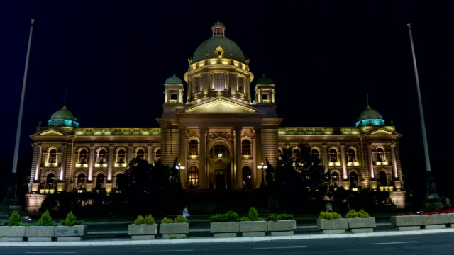 Serbian parliament building in the center of Belgrade capital city.