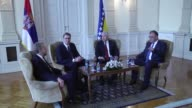 Serbian President Aleksandar Vucic meets with members of Bosnia and Herzegovina's tripartite Presidency Dragan Covic Bakir Izetbegovic and Mladen...
