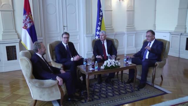 Serbian President Aleksandar Vucic meets with members of Bosnia and Herzegovina's tripartite Presidency Dragan Covic Bakir Izetbegovic and Mladen...
