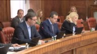 Serbian Prime Minister Aleksandar Vucic and Foreign Minister Ivica Dacic attend a meeting after former Bosnian Serb leader Radovan Karadzic was...