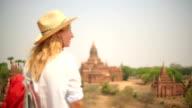 Serene traveler looking at view-Bagan temples