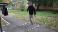 Sergiy Ilnivsky 19­ years­ old does physical therapy after losing one of his legs while fighting with the 79th Airmobile Battalion of the Ukrainian...