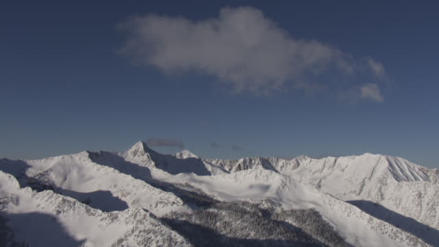 A series of sharp-edged ridges characterize the snowy Wasatch Mountains.