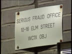 Nadir / Mates issue ITN ENGLAND London CMS Sign on wall 'Serious Fraud office' and address CLA Upper floors TILT DOWN to entrance with 'Elm House' on...