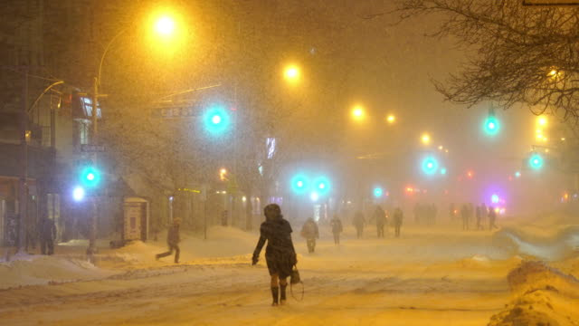 Serious Winter Snowstorm Jonas Hits East Village New York in the Night on Jan. 23 2016.