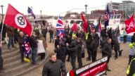 Servicemen arrested in neoNazi probe T25061508 / TX Newcastle EXT Various shots of 'National Action' far right demonstrators with flags raising their...