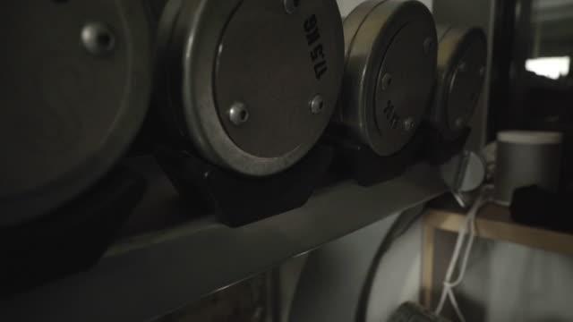 Set of dumbbells on rack, inside gym