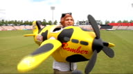 Setanta Sports News reporter Jamie Weir doing comical piece to camera ENGLAND Southampton Rose Bowl EXT Reporter to camera as wearing a blowup yellow...