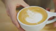 Setting Latte On Countertop