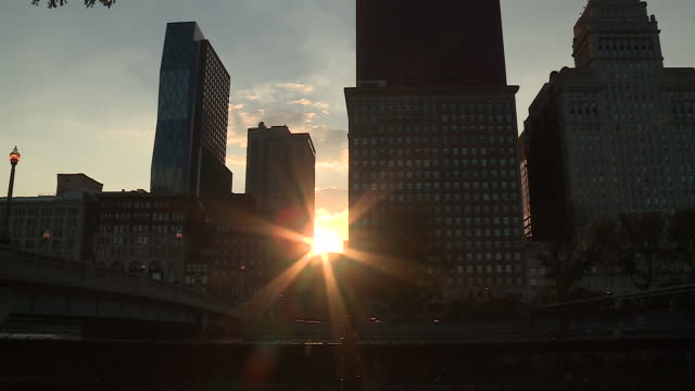 WGN Setting Sun Shines Between Chicago Buildings on Fall Equinoxthe phenomenon known as Chicagohengeon Sept 22 2017