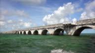 Seven Mile Bridge passes over the tropical ocean waters of the Florida Keys