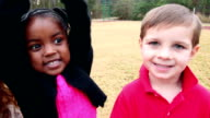 Seven preschool children at the park
