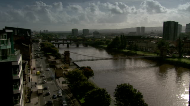 Several bridges span across the River Clyde in Glasgow, Scotland. Available in HD.