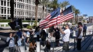 Several clips of Rancher Cliven Bundy supporters rallying outside the Federal courthouse to protest his arraignment today