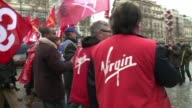 Several hundred employees of Virgin Megastore France took to the streets Tuesday according to unions CLEAN Virgin France employees on January 29 2013...