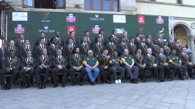 Several hundred people gather in Johannesburg to celebrate their national rugby team as the Springboks are off to England to take part in the Rugby...
