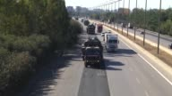 Several numbers of tank and armoured vehicles deploys to Sirnak border town between Turkey and Iraq The footage shows military a long column of...
