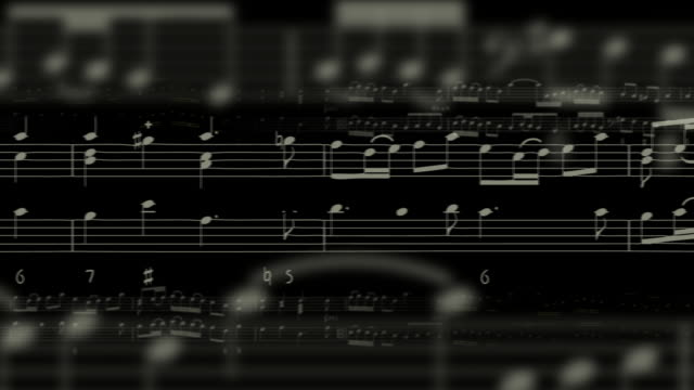 B/W CGI MS Several staffs of music filled with notes moving across the screen from right to left
