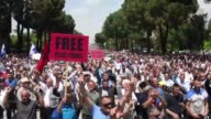 Several thousand opposition supporters protest in the streets of Albania's capital Tirana to call for the resignation of Prime Minister Edi Rama